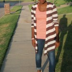 Chocolate, white, coral outfit with skinnies and nude pumps at www.CharmedValerie.com