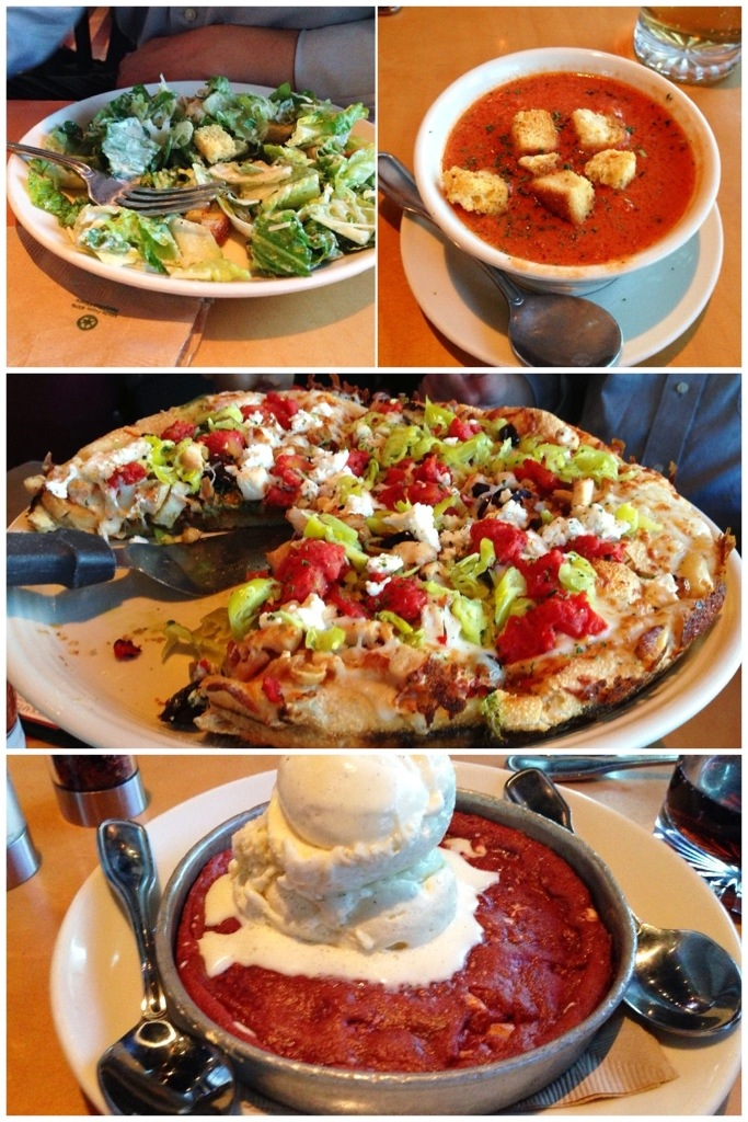 Mediterranean Pizza, Caesar Salad, red velvet pizookie dessert