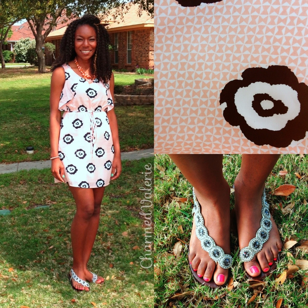 Langford Market dress, fibi & clo cascade sandals, charming charlie necklace