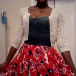 Look 3: Added a cardigan for a very girly Anthropologie look!