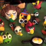 Angry Birds figures made with polymer clay