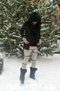 What I Wore: Printed Leggings in Denver Snowstorm